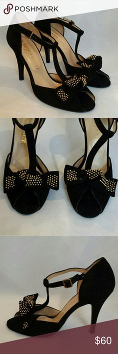 """Claudia Ciuti 'Isabelle' Pumps Be holiday ready with these pretty Italian heels by Claudia Ciuti featuring a black suede upper with T-strap, peep toe and gold studded bow, leather lining and lightly padded footbed.  Excellent used condition with some scuffing on outsole.  3 1/2"""" heel. Claudia Ciuti Shoes Heels"""