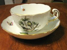 HEREND ROTHSCHILD CUP AND SAUCER GREAT SHAPE #ERENDFRUITANDFLOWERS