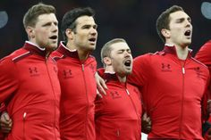 Belting out The Welsh National Anthem!  - Rhys Priestland, Mike Phillips, Leigh Halfpenny and George North.