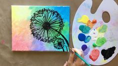 'Make a Wish' easy dandelion acrylic painting tutorial for beginners Timelapse version of my full-le Simple Canvas Paintings, Easy Canvas Art, Small Canvas Art, Easy Canvas Painting, Diy Painting, Dandelion Painting, Canvas Paintings For Kids, Kids Canvas, Pour Painting