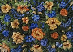 Floral designed & stitched by Lynn Payette using River Silks silk ribbon