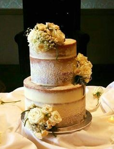 Love the lace on the naked cake