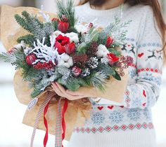 """leranel på Instagram: """"New years atmosphere in everyone bouquet♥❄#bouquet #flowers #flora #floristic #botany #newyear #christmas #winter #december #magic #firtree…"""" Fir Tree, Christmas Wreaths, Flora, December, Bouquet, Holiday Decor, Advent, Home Decor, Flower Corsage"""