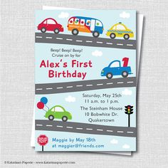 Cars and Trucks Birthday Invitation - Cars and Trucks Party - Transportation Theme - Digital Design or Printed Invitations - FREE SHIPPING