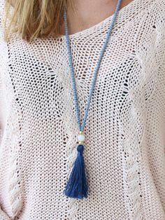 Long Beaded Necklace  Grey and Blue Necklace  by lizaslittlethings, $25.00