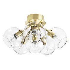 Tage 50 Plafond Mässing/klart glas - CO Bankeryd - Norrmalms Elektrisk Glass Globe, Glass Domes, Room Lamp, Modern Pendant Light, Black Lamps, Spotlights, Polished Brass, Pendant Lamp, Globes