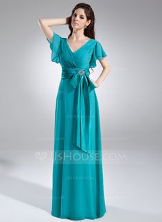A-Line/Princess V-neck Floor-Length Chiffon Charmeuse Mother of the Bride Dress With Crystal Brooch Bow(s) Cascading Ruffles Wedding Party Dresses, Prom Dresses, Bride Dresses, Formal Dresses, Dress Outfits, Fashion Dresses, Crystal Brooch, Special Occasion Dresses, Mother Of The Bride
