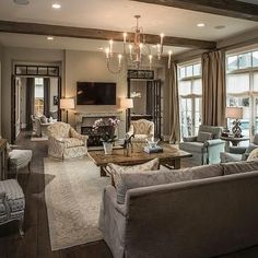 French Doors With Transom Windows, Transitional, Living Room, Thompson  Custom Homes