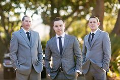 Real Wedding: Caragh + Mark » Queensland Brides | Make the groom stand out - a subtle pinstripe adds interest and signals the groom.