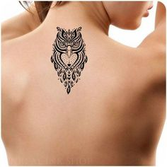 Owl Animal tattoo on back black and white tattoo design idea inspiration