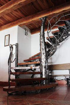 Luxusné schodisko so zábradlím ručne vykované ako strom Interior And Exterior, Railings, Lamps, Lightbulbs, Floating Stairs, Light Fixtures, Lights, Rope Lighting, Banisters