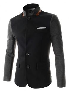 Doublju - Blazer Slim Fit de 2 Botões com Gola Chinesa (KJD30) Compre roupas de qualidade, com design inovador e preço justo!