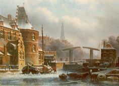 Eduard Alexander Hilverdink (Amsterdam 1846-1891) Winters gezicht op Amsterdam - Kunsthandel Simonis en Buunk, Ede (Nederland).
