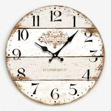 Hot Sale Artistic Silent Retro Creative European Style Round Colorful Vintage Rustic Decorative Antique Wooden Home Wall Clock Big Wall Clocks, Rustic Wall Clocks, Wood Clocks, Rustic Walls, Antique Clocks, Vintage Wall Clocks, Pallet Clock, Retro Clock, Wall Clock Design