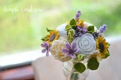 Rose Peony Ranunculus Sunflower Succulent Daisy by LeaphBoutique