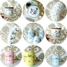 Other cute designs on mugs from @Bodesigns! Get inspired by these and personalize your own mugs with Pebeo Porcelaine 150 markers!
