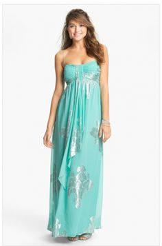 Love the silver mixed with the teal. Perfect Bridesmaid dress for a beach…