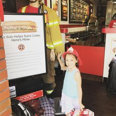 Kayla's first experience at @firehousesubs Mama and papa thought the food was delicious; she loved her fireman's hat and cardboard fire engine! Perfect after a morning of house  hunting. What's your favorite lunch spot ?
