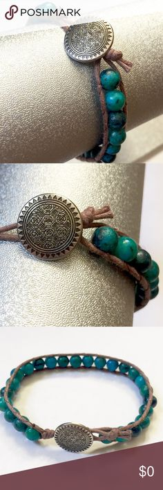 "Woven Australian Jasper Bracelet -7"" bracelet  -Button closure (silver tone) Can be worn on front or back of wrist   -Woven Australian Jasper beads  -Brown trim Creative Adornment Jewelry Bracelets"