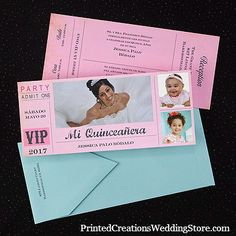 Invite guests to your Quinceanera celebration with this 2-sided VIP ticket featuring favorite photos.  See this 15th Birthday invitation and many more here - www.printedcreations.carlsoncraft.com/Photo/Birthday/3174-JK25586-Exclusive--Invitation.pro.  #quinceanera  #quincenera  #quinceanos
