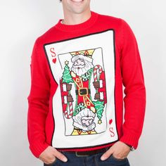 Santa of Hearts Christmas Jumper is a new design from Funky Christmas Jumpers. Guaranteed to impress this jumpers ships to the UK, Ireland, Australia and everywhere else in the world Red Christmas Jumper, Christmas Jumpers, Getting Played, Time Of Your Life, King Of Hearts, Red Color, Santa, Graphic Sweatshirt, Seasons