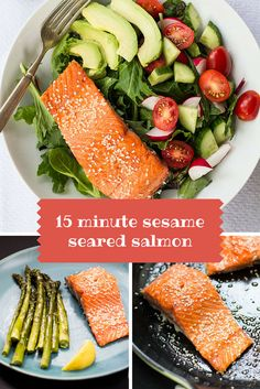 15 minute sesame seared salmon #lowcarb #protein