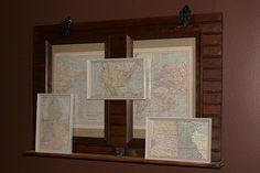 cabinet door & maps