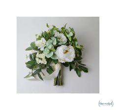 Wedding Bouquet, Boho Bouquet, Bridal Bouquet, Greenery Bouquet, Silk Flowers, Artificial Bouquet, Eucalyptus bouquet with white peonies, lisianthus, queen anne's lace, and seeded eucalyptus. FAUX FLOWERS! Wedding Flowers, Green, White, Cream by blueorchidcreations on Etsy