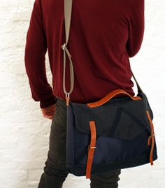 TENT large buckle satchel, made from reclaimed tent fabric and handmade in London bruh