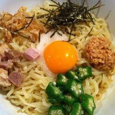 120605 吉村家@神田小川町 ピリ辛ごまだれぶっかけ冷麺 800円 #lunch #japanesefood #ramen #noodle - @ogu_ogu- #webstagram