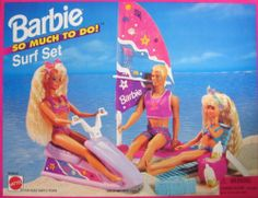 "Barbie So Much To Do Surf Set Playset (1995 Arcotoys, Mattel) by Arcotoys, Mattel. $109.99. Barbie So Much To Do Surf Set is a 1995 Arcotoys, Mattel production. Model #67028-91. CONTENTS: Jet Ski, Wind Surfer, Beach Chair, pretend Soda Bottles, & Portable Radio. Included items are pretend & intended for Barbie & other 11.5"" fashion size dolls; NO DOLLS included. Playset can be used with other size dolls, as preferred. For Ages 3+ Years. CAUTION: Small Parts In..."