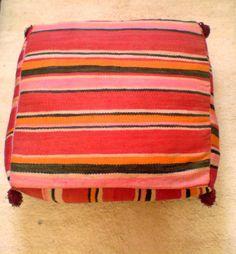 Vintage Moroccan Berber Kilim Pouf Floor Pillow colors for living room