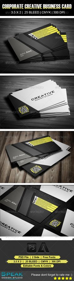 Corporate Creative Business Card 10 #GraphicRiver Description Corporate Creative Business Card Fully layered PSD 300 Dpi, CMYK Completely editable, print ready Text/Font or Color can be altered as needed You can customize easily Help.txt fonts in the file Help.txt file FontS: 1. Arial: Windows Default 2. SansSerif: .fontex.org/sans-serif-fonts.html 3. BankGothic Md BT : .fonts /font/bitstream/bank-gothic/medium Created: 28August13 GraphicsFilesIncluded: PhotoshopPSD L...