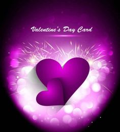 Purple Valentines Day greeting card