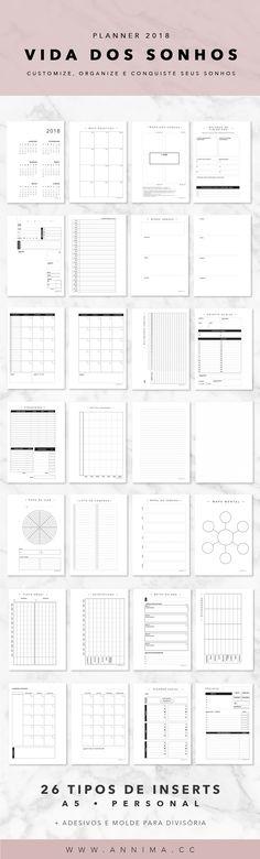 #planner dos sonhos 2018 Planner 2018, Agenda Planner, Study Planner, Day Planners, Planner Diy, Planner Diario, Diy Agenda, Journaling, Creative Journal