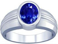 Platinum Oval Cut Blue Sapphire Mens Ring 26