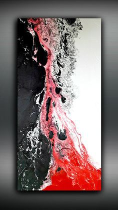 Weiß schwarz und rot 24 x 48 Malerei abstrakte Malerei