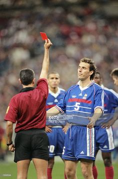 Referee Jose Garcia-Aranda sends off Laurent Blanc of France for raising a hand at Slaven Bilic of Croatia during the World Cup semi-final at the Stade de France in St Denis. France won 2-1. \ Mandatory Credit: Clive Brunskill /Allsport