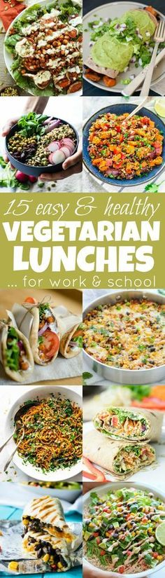 Stuck in a meal prep rut? Get inspired by these easy & healthy vegetarian lunches! They're nutritious, delicious and perfect to pack for work and school! | runningwithspoons.com
