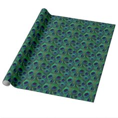 Peacock feather eye, gift wrap in rich, deep, saturated shades of green, teal, cobalt blue, royal blue, navy, and black. Spice up gift-giving with this bold, eye-catching wrapping paper. This same pattern and color combination is also available in our Zazzle store in a smaller and larger peacock feather eye prints, and this same peacock feather pattern is also available in a wide variety of different color combinations in our Zazzle store