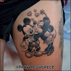 Image uploaded by Danny. Find images and videos about tattoo, disney and mickey on We Heart It - the app to get lost in what you love. Mickey Tattoo, Mickey And Minnie Tattoos, Mickey E Minie, Disney Sister Tattoos, Matching Disney Tattoos, Disney Sleeve Tattoos, Disney Couple Tattoos, Tattoo Disney, Hippe Tattoos