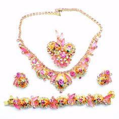 Juliana-Pink-Rhinestone-Rose-Limoge-Necklace-Bracelet-Brooch-Earrings-Parure