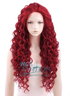 """Long Curly 26"""" Dark Red Lace Front Synthetic Fashion Wig Style Code: LF186 Color: Dark Red Size: One size Length: 26 inches or 66 cm Cap Type: Lace Front Lace Type: Durable Swiss Lace (1.5 inches) Material: Japanese synthetic fiber Heat Resistant:150C heat resistant"""
