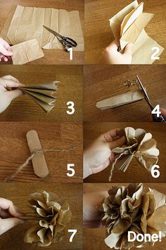 Vintage paper flowers ~ I made these as a child from tissue paper. Never thought to use brown paper bags. Handmade Flowers, Diy Flowers, Flower Decorations, Flower Ideas, Fall Flowers, Paper Bag Flowers, Fabric Flowers, Paper Bag Crafts, Diy Paper