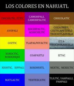 Colors in Nahuatl, los colores en náhuatl. Por eso mi nombre es Ayopali=Coral :)