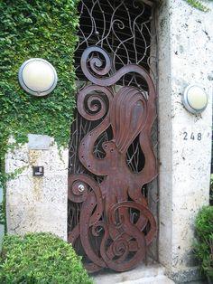 Octopus Door - Modern Miami Beach Art Deco - BEV Norton  Make it happen with vintage retro home decor fashion jewelry from www.rubylane.com @rubylanecom #rubylane