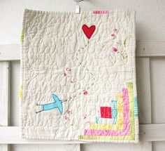 "Bits of color....""Follow Your Heart"" mini quilt."