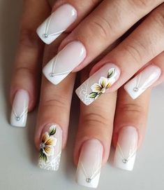 #bytancinhacastro  #unhasdecoradas  #unhasdegel Bride Nails, Wedding Nails, Cute Acrylic Nail Designs, Nail Art Designs, Gorgeous Nails, Pretty Nails, Square Oval Nails, Nails Only, Flower Nail Art