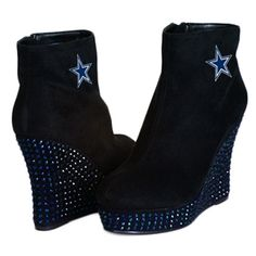 Dallas Cowboys Cuce The Rookie Crystal Wedge Shoe.   These bold booties are sure to get you noticed in all the right ways.  Color coordinated studs placed on the wedge are sure to give any game day look a haute upgrade.  Synthetic suede upper and liner are sure to keep any woman cozy and warm.