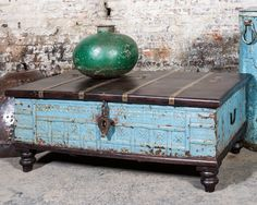 595.00 USD****WAS $699 NOW $595****Salvaged Vintage. Trunk Coffee TablesSteamer  TrunkWooden BenchesBlue WeddingsFurniture ...